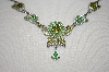 **MBA #20-752  Green Crystal Flower Necklace