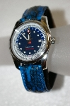 *MBA #20-766  Croton Blue Snake Skin Strap Watch