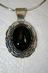 "**MBA #20-813   ""Large Artist Signed Sterling Black Onyx Pendant"