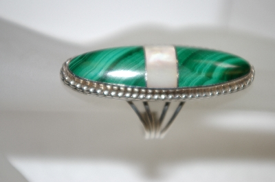 +MBA #20-828  Long Sterling Malachite & Mother Of Pearl Ring