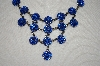 Dark Blue Crystal Flower Necklace With Matching Earrings