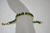 **MBA #20-276  Gold Plated Green Crystal Bracelet