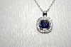 "Charles Winston Simulated Tanzanite Cushion Cut Pentant & 18"" Chain"
