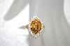 **MBA #20-288  14K Citrine & Diamond Ring