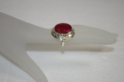 **MBA #20-014  Large Oval Cut Ruby Sterling Ring