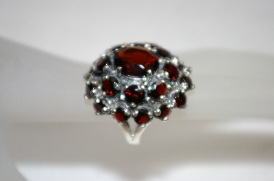 +MBA #20-003  Large 23 Stone Garnet Cluster Sterling Ring