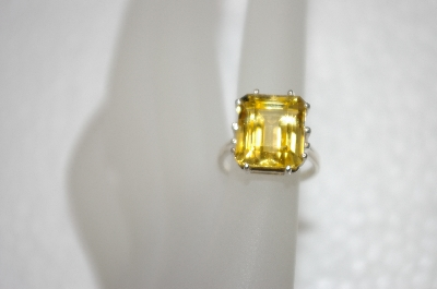 +MBA #20-031  Square Cut Citrine Sterling Ring