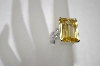 +MBA #20-061  Square Cut Canary & Clear CZ Sterling Ring