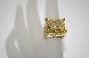 **MBA #20-065  14K Gold Plated Canary Yellow & Clear Cz Ring