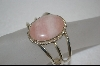 **  Artist Signed Sterling Oval Rose Quartz Cuff Bracelet