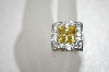 **MBA #20-073  Charles Winston Square Cut Canary Yellow & Clear CZ Ring