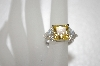 **MBA #20-078  Charles Winston Canary & Clear Trillion Cut CZ Ring