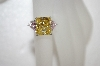 **MBA #20-085  Charles Winston Canary Yellow & Pink Trillion Cut CZ Ring