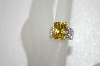 **MBA #20-066  Charles Winston Canary Yellow & Pear Cut Clear CZ Ring