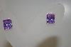 Square Cut Lavender CZ Earrings