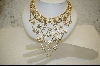 """The Ultimate"" Aurora Borealis Austrian Crystal Necklace W/Matching Pierced Earrings"