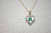 **MBA #20-408  Technibond  Real Four Leaf Clover & Diamond Accent Pendant