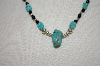 **MBA #20-150  Blue Turquoise, Black Onyx & Sterling Bead Necklace
