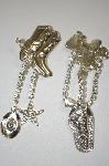 +MBA #20-155  Silver Tone Saddle & Boots Crystal Clip On Earrings