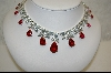 Charles Winston Classic-Elegant  Red Pear Cut Cz Necklace W/Matching Pierced Earrings