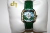 *MBA #21-062  Lucien Piccard Peridot Green Leather Strap Watch