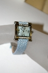 "*MBA #21-440  ""Croton ""Blue"" Women's Stainless Steel Square Diamond Watch"