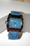 *MBA #21-432  Croton Unisex Square Stainless Steel Watch With A Genuine Ostrage Strap