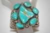 **MBA #21-823  7 Stone Blue/Green Turquoise Cuff Bracelet