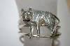 "**MBA #21-611   ""Artist Stamped Sterling Wolf Cuff Bracelet"