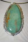 "**  MBA #21-806   ""Artist Signed ""E&C Fierro"" Large Green Turquoise Sterling Pendant"
