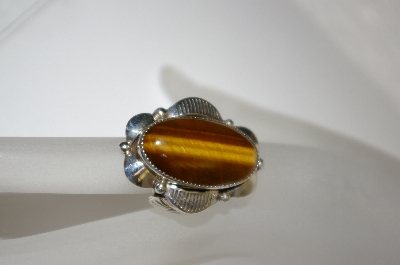 "+MBA #21-775  Artist Signed ""CN"" Navajo Fancy Sterling Tiger Eye Ring"