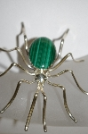 "**MBA #21-621  Artist Signed ""E. Spencer"" Large Sterling Malachite Spider Pin"