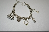 "**Charles Winston 7.5""  Rhodium Charm Bracelet With 5 Charms"