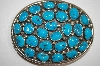 "Artist Signed ""JP"" 24 Stone Blue Turquoise Sterling Belt Buckle"