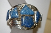 "**MBA #21-595  Artist Signed ""E&C Fierro"" 7 Stone Fancy Cut Lapis Sterling Cuff Bracelet"
