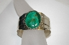 "**MBA #21-740  Artist Signed ""Arrow Symbol With ""G"" Beautiful Malachite Sterling Cuff Bracelet"