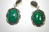 "+MBA #21-763  Artist Signed ""Denetdale"" Navajo  Malachite Sterling Earrings"