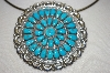 "**MBA #21-808  Artist Signed ""E.Wilson"" 36 Stone Blue Turquoise Sterling Pin/Pendant"