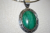 "**MBA #21-759  Artist Signed ""PM"" Fancy Sterling Malachite Pendant"
