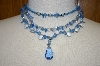 Mystique Of New York Blue Gemstone & Acrylic Bead 3 Row Necklace
