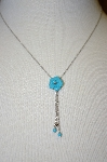 **MBA #21-094  14K White Gold Italian Blue Turquoise Necklace