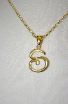 "**MBA #21-366  Veronese 18K OVer Silver Letter ""S"" Pendant With 18"" Chain"