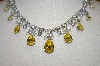 **MBA #21-057  Charles Winston Canary Yellow & Clear CZ Elegant Necklace