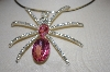 **MBA #21-523  Large Pink Acrylic & Crystal Spider Pendant