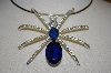 Large Blue Acrylic & Clear Crystal Spider Pendant