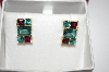 **MBA #21-481  14K Yellow Gold Vermeil  Green Topaz & Vilot Garnet Earrings