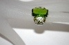 **MBA #21-257  Charles Winston Simulated Peridot & Olive  & Lemon CZ Ring