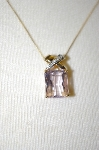 **MBA #21-426  14K Yellow Gold Pink Amethyst & Diamond Pendant