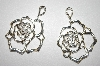 **MBA #21-379  Large Sterling Rose Earrings