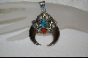 "SOLD""  Artist Signed Blue Turquoise & Coral Claw Pendant"